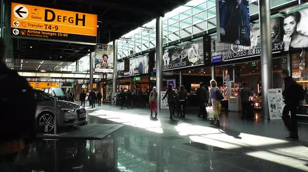 голландский : Schipol International Airport Amsterdam Netherlands Стоковые видеозаписи