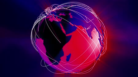 bağlantılı : 4K Worldwide Network Connections Globe Glassy Design in Red and Blue. Illustrating social media people connection, internet web, travel, transportation, commercial relations and e-commerce