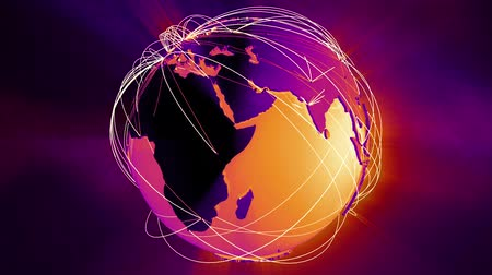 e ticaret : 4K Worldwide Network Connections Globe Glassy Design in Purple and Orange. Illustrating social media people connection, internet web, travel, transportation, commercial relations and e-commerce
