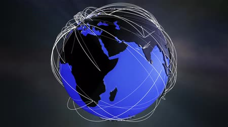dünya çapında : 4K Worldwide Network Connections Globe Glassy Design in Blue. Illustrating social media people connection, internet web, travel, transportation, commercial relations and e-commerce