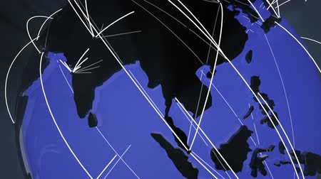 bağlantılı : 4K Worldwide Network Connections Globe Far East Asia and Europe Glassy Design in Blue - Illustrating social media people connection, internet web, travel, transportation, commercial relations and e-commerce