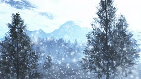 mystik : Mysterious Northern Forest Winter Snowing 3D artwork animation Dostupné videozáznamy