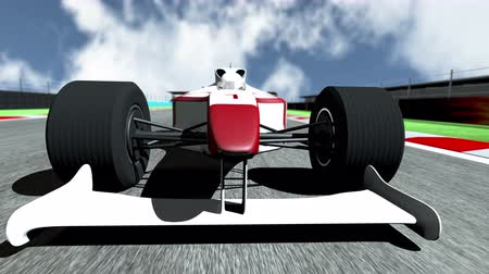 гонка : 4K Race Car on Race Course going across the Finish Line high quality 3D animation