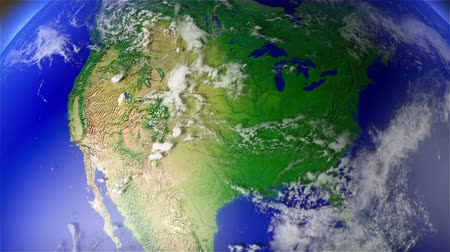 devletler : 4K Earth Zoom to North America with Matte. Camera push zoom into Earth from space 3D animation Stok Video