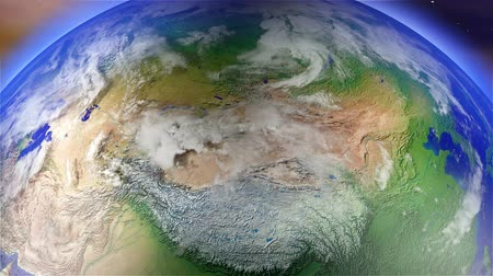 rusya : 4K Earth Zoom to Russia - Asia with Matte, camera push zoom into Earth from space 3D animation