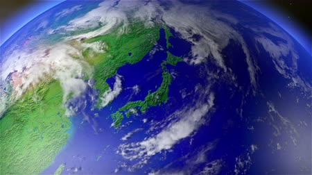 japan : 4K Earth Zoom to Japan with Matte. Camera push zoom into Earth from space 3D animation