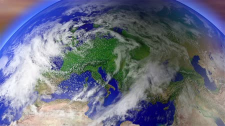 lengyelország : 4K Earth Zoom to Europe with Matte with Matte. Camera push zoom into Earth from space 3D animation