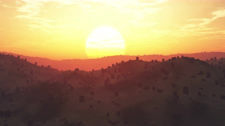 aridez : 4K Deforestation Aerial Sunset Sunrise 3D animation