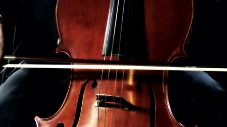 4K Professional Cellist with his Cello Staccato Stock Footage