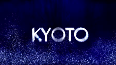 kyoto : 4K Kyoto - Japan City Name Revealing in a Modern Funky Design Stock Footage