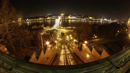 budapeste : 4K Chain Bridge River Danube and Pest Side Fisheye Panoramic View at Night Budapest Hungary Timelapse