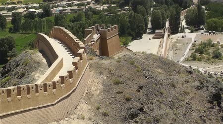 great wall of china : The Great Wall of China (Changcheng) in Jiayuguan Gansu Province Northwestern China, One of the Seven Wonders of the Medieval World. This is the topwestern point of the Great Wall - the First Pier of the Wall is located in this area. Stock Footage