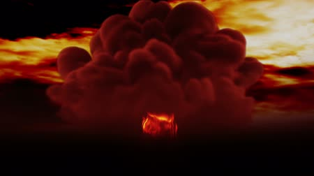 sinir : Huge Nuclear Explosion 3D Animation Stok Video