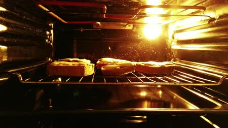 sandviç : 4K Tasty Homemade Hot Sandwiches with Melted Cheese are being baked in the oven Stok Video