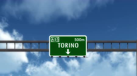 znak : 4K Passing under Torino Italy Road Highway Sign with Matte Photo Realistic 3D Animation Wideo