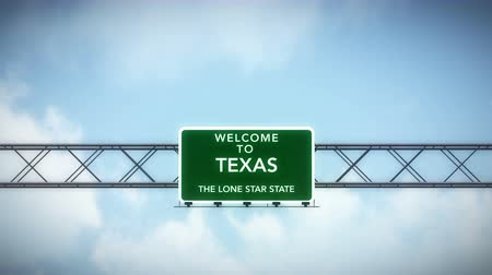 deski : 4K Passing under Welcome to Texas State USA Interstate Highway Sign with Matte Photo Realistic 3D Animation