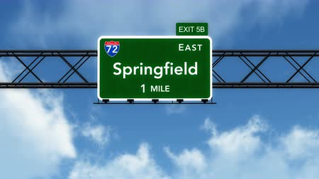 deski : 4K Passing under Springfield USA Interstate Highway Sign with Matte Photorealistic 3D Animation