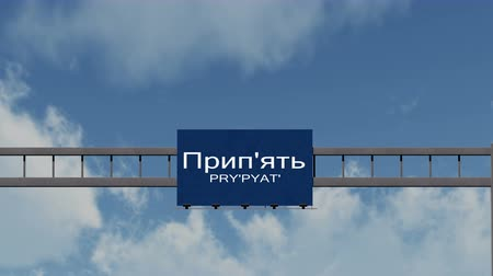 disater : 4K Passing under Prypyat Ukraine Highway Sign with Matte Photorealistic 3D Animation - Prypyat is the town which was ecacuated in 1986 because of the Chronobyl  Chernobyl nuclear disaster in the former Soviet Union, currently Ukraine.