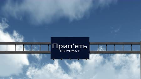 evacuated : 4K Passing under Prypyat Ukraine Highway Sign with Matte Photorealistic 3D Animation - Prypyat is the town which was ecacuated in 1986 because of the Chronobyl  Chernobyl nuclear disaster in the former Soviet Union, currently Ukraine.