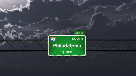 philadelphie : 4K Passing under Philadelphia USA Interstate Highway Road Sign Photo Realistic 3D Animation with Matte 4K 4096x2304 ultra high definition