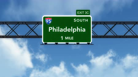 znak : 4K Passing under Philadelphia USA Interstate Highway Sign with Matte Photorealistic 3D Animation