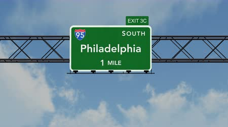 philadelphie : 4K Passing under Philadelphia USA Interstate Highway Sign with Matte Photorealistic 3D Animation