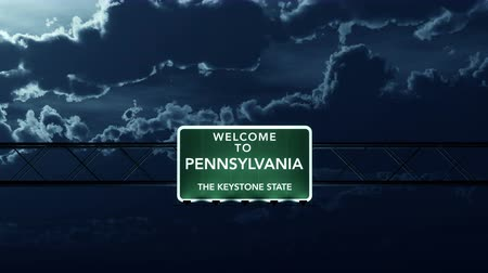 Пенсильвания : 4K Passing under Pennsylvania USA Interstate Highway Road Sign at Night Photo Realistic 3D Animation with Matte 4K 4096x2304 ultra high definition
