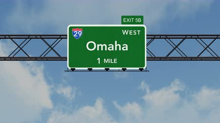 direzione : 4K Passando sotto Omaha USA Interstate Highway Sign con Matte fotorealistico 3D Animation