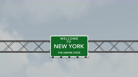 welcome sign : 4K Passing under Welcome to New York State USA Interstate Highway Sign with Matte Photo Realistic 3D Animation Stock Footage