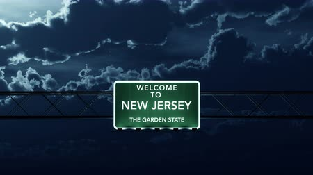 múló : 4K Passing under New Jersey USA Interstate Highway Road Sign at Night Photo Realistic 3D Animation with Matte 4K 4096x2304 ultra high definition