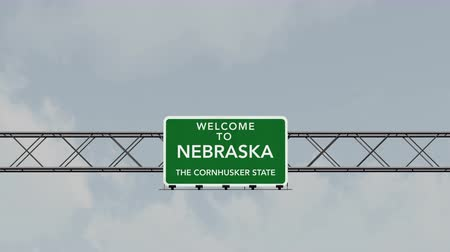 welcome sign : 4K Passing under Welcome to Nebraska State USA Interstate Highway Sign with Matte Photo Realistic 3D Animation
