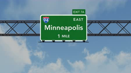 direzione : 4K Passando sotto Minneapolis USA Interstate Highway Sign con Matte fotorealistico 3D Animation