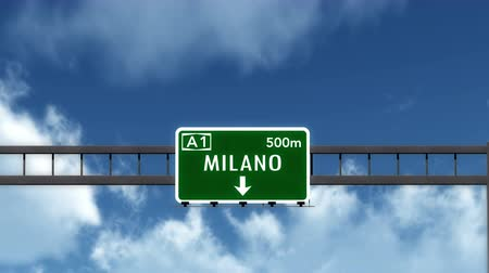 milan : 4K Passing under Milano Milan Italy Road Highway Sign with Matte Photo Realistic 3D Animation