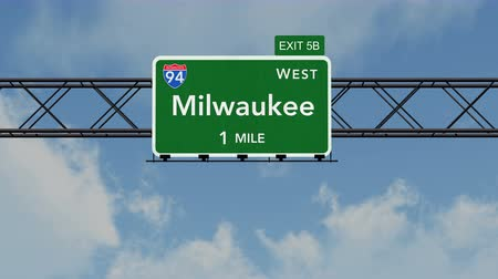 direzione : 4K Passando sotto Milwaukee USA Interstate Highway Sign con Matte fotorealistico 3D Animation