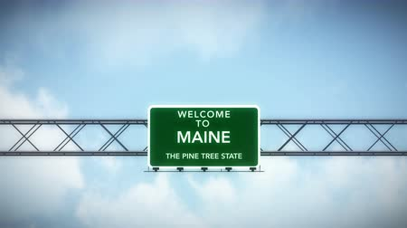 состояние : 4K Passing under Welcome to Maine State USA Interstate Highway Sign with Matte Photo Realistic 3D Animation