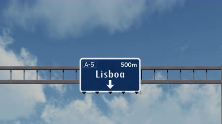 portugese : 4K Passing under Lisbon Lisboa Portugal Highway Sign with Matte Photorealistic 3D Animation