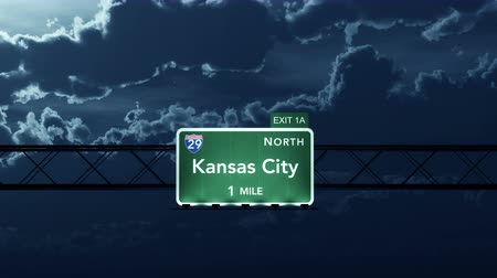 city limits : 4K Passing under Kansas City USA Interstate Highway Road Sign Photo Realistic 3D Animation with Matte 4K 4096x2304 ultra high definition