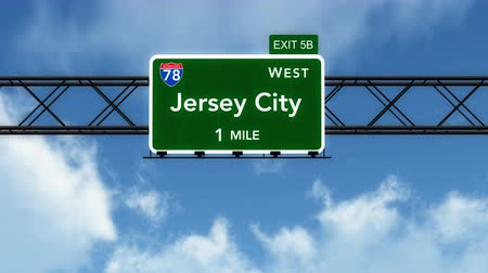 direzione : 4K Passando sotto Jersey City USA Interstate Highway Sign con Matte fotorealistico 3D Animation