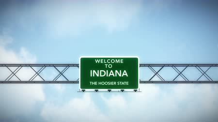 welcome sign : 4K Passing under Welcome to Indiana State USA Interstate Highway Sign with Matte Photo Realistic 3D Animation