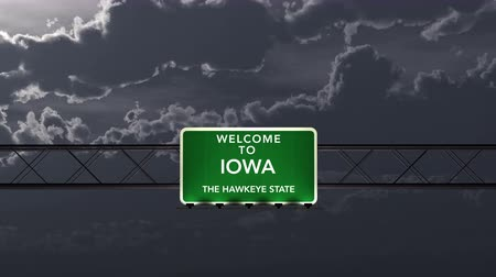 iowa : 4K Passing under Iowa USA Interstate Highway Road Sign at Night Photo Realistic 3D Animation with Matte 4K 4096x2304 ultra high definition