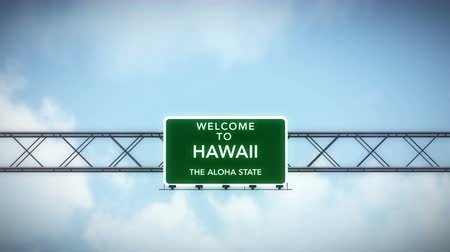 welcome sign : 4K Passing under Welcome to Hawaii State USA Interstate Highway Sign with Matte Photo Realistic 3D Animation
