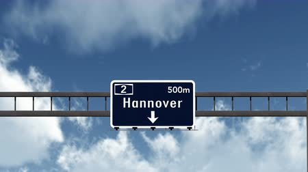 hanover : 4K Passing under Hannover Germany Road Highway Sign with Matte Photo Realistic 3D Animation