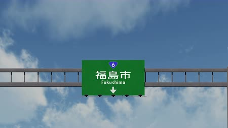 evacuated : 4K Passing under Fukushima Japan Highway Sign with Matte Photorealistic 3D Animation - Fukushima is a Japanese Town in the Fukushima Prefecture and was evacuated after the Fukushima Daiichi nuclear accident in 2011.