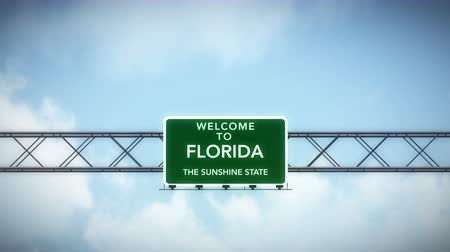 welcome sign : 4K Passing under Welcome to Florida State USA Interstate Highway Sign with Matte Photo Realistic 3D Animation