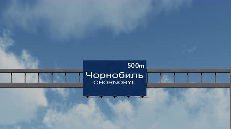 cccp : 4K Passing under Chornobyl  Chernobyl Ukraine Highway Sign with Matte Photorealistic 3D Animation - Chornobyl  Chernobyl is the location of the 1986 nuclear disaster in the former Soviet Union, currently Ukraine. Stock Footage