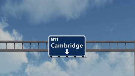 cambridge : 4K Passing under Cambridge United Kingdom England Highway Sign with Matte Photo Realistic 3D Animation
