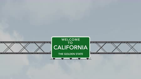 pancarte : 4K Passant sous Californie Interstate Highway Road Sign Photo réaliste Animations 3D avec Matte 4K 4096x2304 ultra haute définition
