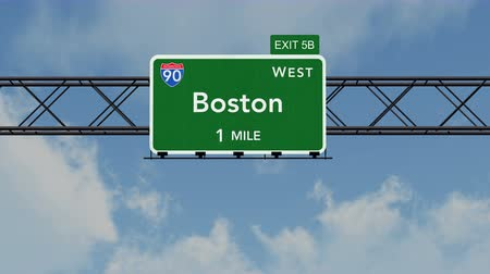 deski : 4K Passing under Boston USA Interstate Highway Sign with Matte Photorealistic 3D Animation Wideo