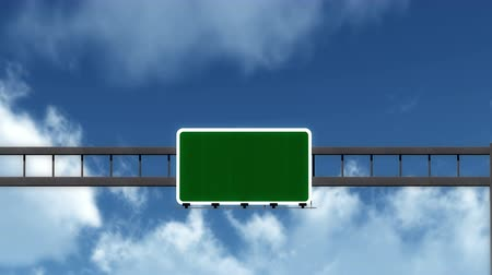 útjelzés : 4K Passing under Blank Highway Road Sign Concept with Matte Photo Realistic 3D Animation