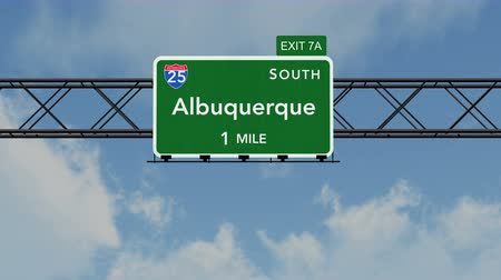 deski : 4K Passing under Albuquerque USA Interstate Highway Sign with Matte Photorealistic 3D Animation